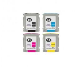 4 Tinteiros Compativeis, HP 10 Preto 69ml + HP 11 Cor 28ml