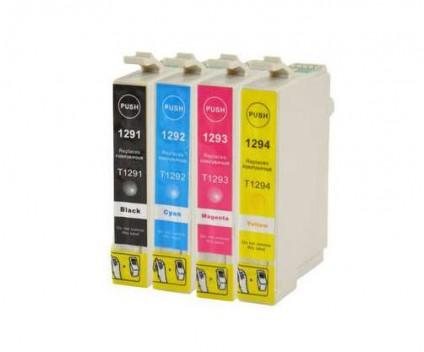 4 Tinteiros Compativeis, Epson T1291-T1294 Preto 15ml + Cor 13ml