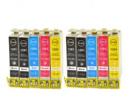 10 Tinteiros Compativeis, Epson T1281-T1284 Preto 13ml + Cor 6.6ml