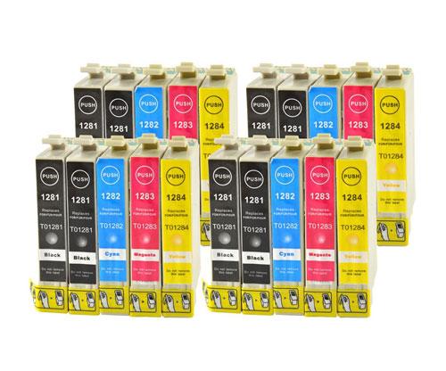 20 Tinteiros Compativeis, Epson T1281-T1284 Preto 13ml + Cor 6.6ml