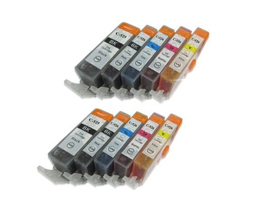 10 Tinteiros Compativeis, Canon PGI-525 / CLI-526 Preto 19.4ml + Cor 9ml