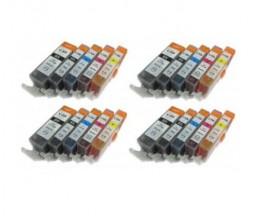 20 Tinteiros Compativeis, Canon PGI-525 / CLI-526 Preto 19.4ml + Cor 9ml