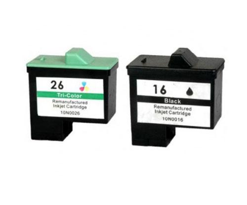 2 Tinteiros Compativeis, Lexmark 26 / 27 Cor 12ml + Lexmark 16 / 17 Preto 15ml