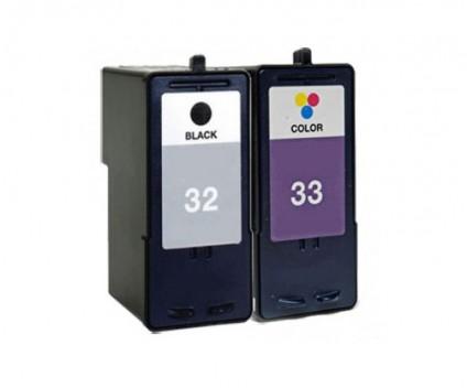 2 Tinteiros Compativeis, Lexmark 33 Cor 15ml + Lexmark 32 Preto 21ml