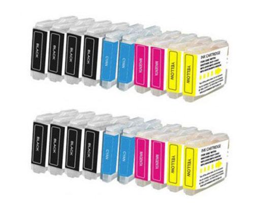20 Tinteiros Compativeis, Brother LC-970 XL / LC-1000 XL Preto 36ml + Cor 26.6ml
