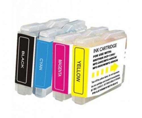 4 Tinteiros Compativeis, Brother LC-970 XL / LC-1000 XL Preto 36ml + Cor 26.6ml