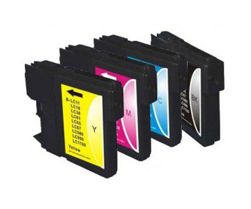 4 Tinteiros Compativeis, Brother LC-980 XL / LC-1100 XL Preto 28ml + Cor 18ml