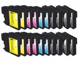 20 Tinteiros Compativeis, Brother LC-980 XL / LC-1100 XL Preto 28ml + Cor 18ml