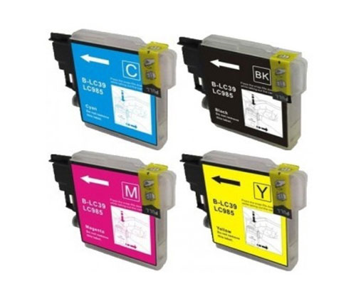 4 Tinteiros Compativeis, Brother LC-985 XL Preto 28ml + Cor 18ml