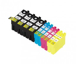 10 Tinteiros Compativeis, Epson T1301-T1304 Preto 33ml + Cor 14ml