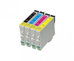 4 Tinteiros Compativeis, Epson T0441-T0444 Preto 17ml + Cor 17ml