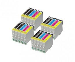 20 Tinteiros Compativeis, Epson T0441-T0444 Preto 17ml + Cor 17ml