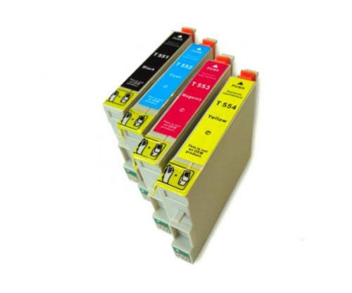 4 Tinteiros Compativeis, Epson T0551-T0554 Preto 17ml + Cor 16ml