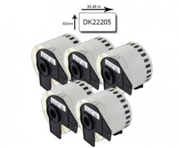 5 Etiquetas Compativeis, Brother DK22205 62mm x 30.48m Rolo Branco
