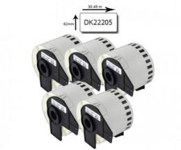 5 Etiquetas Compativeis, Brother DK22205 62mm x 30.48m Rolo Branco