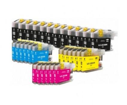30 Tinteiros Compativeis, Brother LC-221 / LC-223 Preto 16.6ml + Cor 9ml