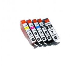 5 Tinteiros Compatíveis, Canon PGI-7 Preto 24ml + PGI-9 Cor 13.4ml