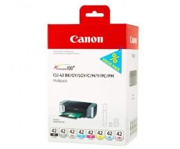 8 Tinteiros Originais, Canon CLI-42 BK / C / M / Y / LC / LM / GY / LGY 13ml