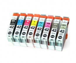 8 Tinteiros Compativeis, Canon CLI-42 BK / C / M / Y / LC / LM / GY / LGY 13ml