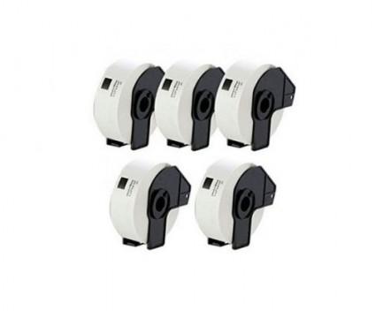 5 Etiquetas Compativeis, Brother DK11201 29mm x 90mm 400 / Rolo Branco