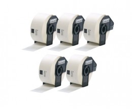 5 Etiquetas Compativeis, Brother DK11208 39mmx90mm Rolo branco 400 / Rolo