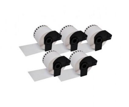 5 Etiquetas Compativeis, Brother DK22212 62mm x 15.24m Rolo Branco Papel