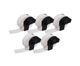 5 Etiquetas Compativeis, Brother DK11219 12 mm Redondas 1.200 / Rolo branco