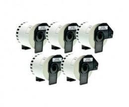 5 Etiquetas Compativeis, Brother DK44205 62 mm x 30.48m rolo Branco
