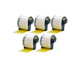 5 Etiquetas Compativeis, Brother DK44605 62mm x 30.48m Amarelo