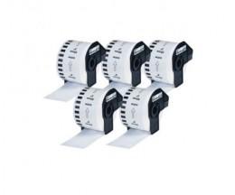 5 Etiquetas Compativeis, Brother DK22223 50mm x 30.48m Rolo Branco