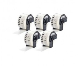 5 Etiquetas Compativeis, Brother DK22225 38mm x 30.48m Rolo Branco