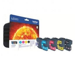 4 Tinteiros Originais, Brother LC980BK / LC980Y / LC980M / LC980C Preto 9ml + Cor 5ml