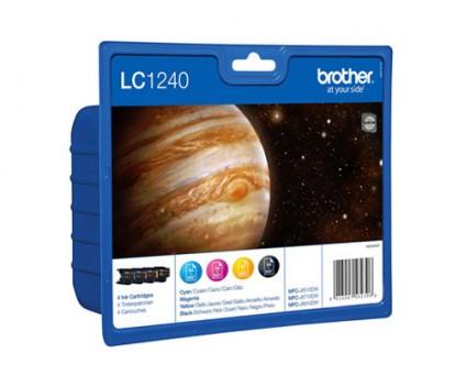 4 Tinteiros Originais, Brother LC1240 Preto 13.9ml + Cor 7.1ml