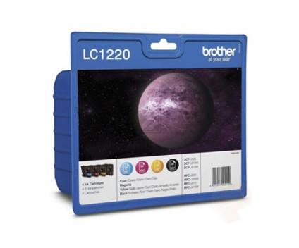 4 Tinteiros Originais, Brother LC1220 Preto 7.8ml + Cor 4.8ml