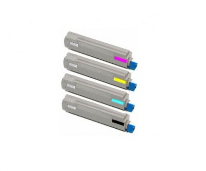 4 Toners Compativeis, OKI 4405921X Preto + Cor ~ 10.000 Paginas
