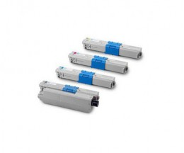 4 Toners Compativeis, OKI 44469804 Preto + 4446972X Cor ~ 5.000 Paginas