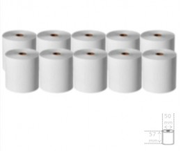 10 Rolos de Papel Térmico 57x50x11mm