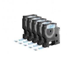 5 Fitas Compativeis, DYMO 45011 AZUL / TRANSPARENTE 12mm x 7m