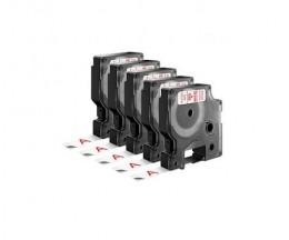5 Fitas Compativeis, DYMO 45015 Vermelho / Branco 12mm x 7m