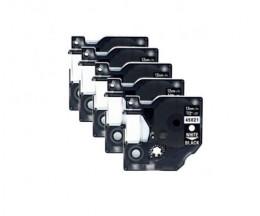 5 Fitas Compativeis, DYMO 45021 Preto / Branco 12mm x 7m