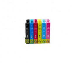 6 Tinteiros Compativeis, Epson T0791-T0796 Preto + Cor 17ml
