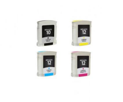 4 Tinteiros Compativeis, HP 10 Preto 69ml + HP 12 Cor 69ml
