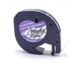 Fita Compativel DYMO 12267 Preto / Transparente 12mm x 4m