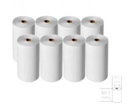 8 Rolos de Papel Térmico 80x55x12mm