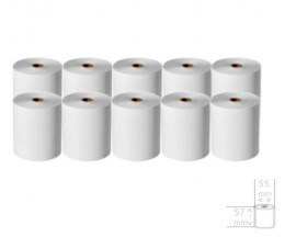 10 Rolos de Papel Térmico 57x55x12mm
