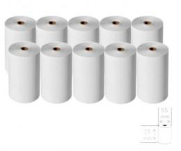 10 Rolos de Papel Térmico 75x55x12mm