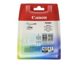 2 Tinteiros Originais, Canon PG-40 / CL-41 Preto 16ml + Cor 12ml
