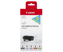 5 Tinteiros Originais, Canon PGI-9 MBK / LC / LM / R / G 14ml
