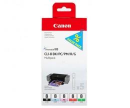 5 Tinteiros Originais, Canon PGI-8 BK / PC / PM / R / G 13ml
