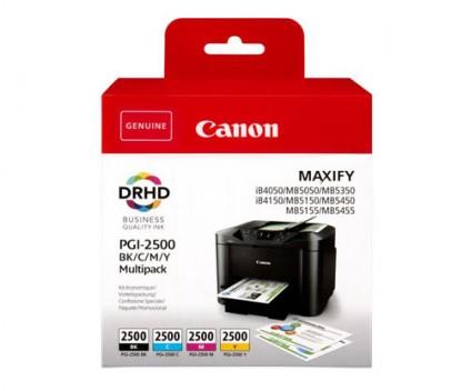 4 Tinteiros Originais, Canon PGI-2500 Preto + Cor 71ml / 19ml ~ 2.500 / 1.700 Paginas